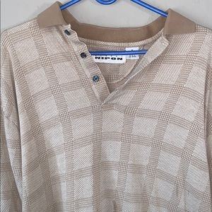 Gold Checkered Polo with Pearl buttons